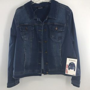 D.Jeans Denim Jacket DarkStone Sandblast Sz2X Blue